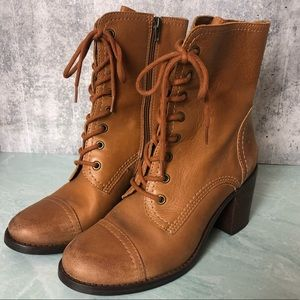 Steve Madden brown lace up heeled booties size 8.5